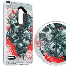 For ZTE ZMAX PRO Z981 - Hybrid Brushed Armor Skin Case Cover CROWNED SKULL NET