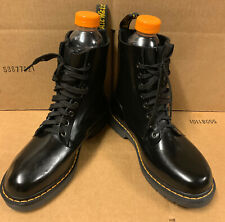 Rare Dr. Martens Black Drench Vulcanized Rubber Rain Lace Up Boots US10 UK8 EU42