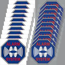 10+10 Aufkleber Sticker blau 5cm Alarm System Warnhinweis für Innenseite Fenster