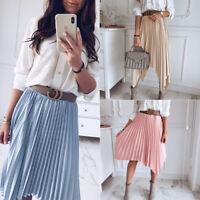 Women A-Line High Waist Pleated Elastic Waist Midi Skirt Casual Dress Sundress