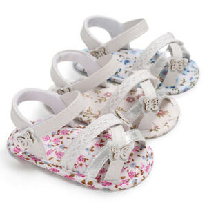 Newborn Baby Girl Pram Shoes Infant Butterfly Summer Sandals First Step Trainers