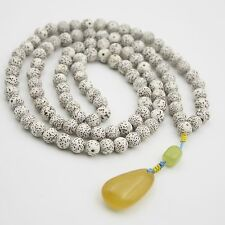 Bodhi Seed Yellow Jade Lemon Jade Tibet Buddhist 108 Prayer Beads Mala Necklace