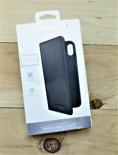 Platinum™ - Genuine Leather Wallet Folio Case for Apple® iPhone® X - Charcoal