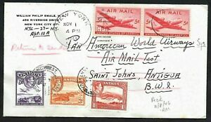 PAN AM Airmail Test Flight Cover NYC to Antigua, Stamps for Return to USA 1946