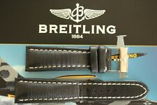 BREITLING 441X 24-20 BLACK SMOOTH CALF TONGUE BUCKLE WATCH BAND WATCHBAND STRAP