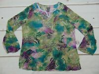 Chicos Women's Size 2 Large 12 Pullover Sheer Beaded Animal Print Silk Blouse