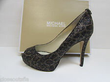 Michael Kors Size 7 M Black Gold Cheetah Glitter Heels New Womens Shoes