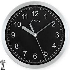 AMS 5911 Wanduhr Funk Funkwanduhr analog rund schwarz mit gebürstetem Aluminum