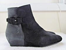 Pas de Rouge Black Leather Wedge Heel Ankle Boots EU 39 US Women's Size 9