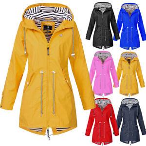 Womens Waterproof Raincoat Wind Outdoor Jacket Forest Coat Rain Mac Plus Size