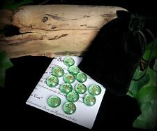 13 Witches Green Runes with Bag and Casting Leaflet Witch Wicca Pagan Gift Rune
