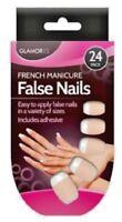 24 French Polish Manicure Natural False Nails & Glue