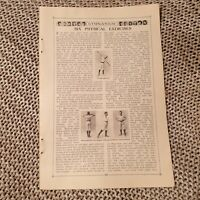 Six Physical Exercises - Antique Book Page, c.1910