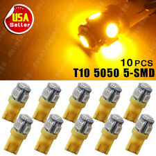 10X Car T10 Amber/Yellow LED 5050 5smd Wedge Light Bulb W5W 194 168 2825 158 192