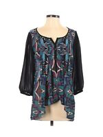 Nicole Miller Womens Peasant Blouse Small Hi Low Pleated Sheer Floral Print 3/4