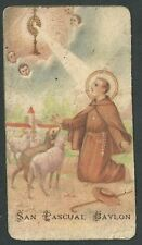 Estampa antigua de San Pascual Babylon andachtsbild santino holy card santini