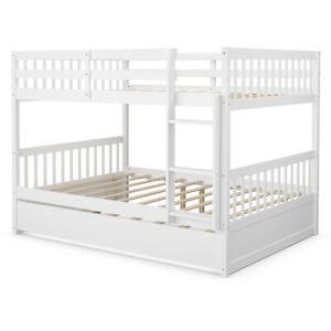 Full over Full Bunk Bed Platform Wood Bed Captain's Bed w/ Trundle & Ladder Rail