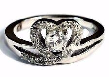 925 Plata de Ley Boda Compromiso Mujer Anillo Banda, Corazón Lab con Diamante