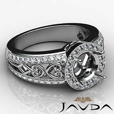 Diamond Engagement Ring Halo Setting 18k White Gold Round Shape Semi Mount 0.75C