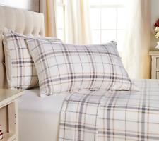 Malden Mills by Berkshire Polarfleece Sheet Set-Cream Plaid-Queen-Nip-H212329