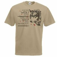 Mens Khaki One Wolf Quote T-Shirt Game of Thrones Arya Stark Fan TShirt