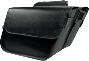 Willie & Max Black Throw Over Leather Raptor Motorcycle Saddlebags Harley