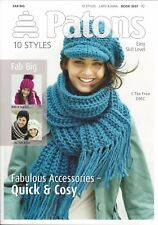 VAT Free Hand Knitting PATTERNS ONLY Patons Book Fab Big Styles Hats Scarfs 3837