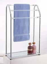 Bathroom Towel Drying Rack with Bottom Shelf, Freestanding 3 Bar, Chrome finish