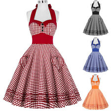 Retro 1950s VINTAGE Polka Dots Summer Halter Swing EVENING Housewife Pinup Dress