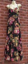 Ladies Long Black Floral Strappy Dress by George, Size 10, VGC