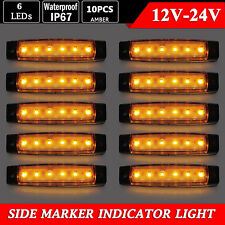 10x 12V SMD 6 LED Yellow Rear Side Marker Light Position for Truck Trailer Lorry