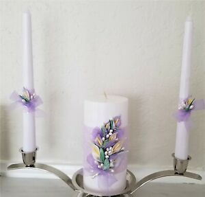 White & Purple Lilies Wedding Unity Candle Set with Pearls