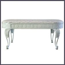 Bed End Bench Iron Frame in White Colour White Colour Wicker Cushion Seat NEW