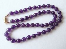 "Violet Amethyst Necklace 8mm Beads 22"" Hand Knotted 8 mm Amethyst Beads"