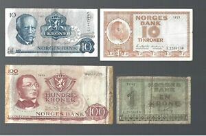 Norway ✨ 4 Banknotes ✨ Collections & lots #6177