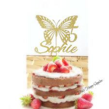 Personalised Butterfly cake topper Birthday Custom - Girl in 16 Glitter Colours