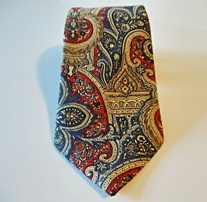 "Burberrys Of London Blue Red Beige Brown Silk Tie Paisley Floral 57"" x 4"""
