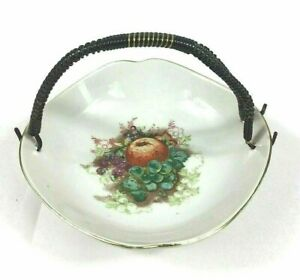 Farmhouse Cottagecore Ceramic Candy Dish Floral Apples Country Wire Wrap Japan