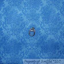 BonEful Fabric FQ Cotton Quilt VTG Blue Colonial Williamsburg Flower Damask Tone