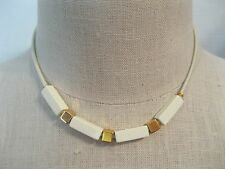 Vintage Gold Tone & Off-White Beads on Metal Chain Necklace 15""