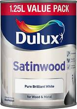 Dulux Satinwood - Pure Brilliant White 1.25L -Larger than 750ml - Oil Based