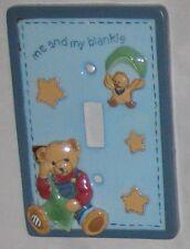 "Blue ""Me & My Blankie"" Bear Decor Switch Plate"