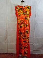 Vintage HAWAIIAN TOGS Bold Oranges HIBISCUS FLORAL BARKCLOTH DRESS Womens XS Muu