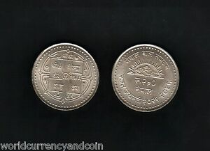 NEPAL 250 RUPEES KM-1052 1989 25th Commemorative NCO SILVER UNC CURRENCY COIN