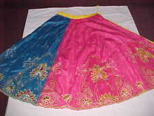 PEACOCK Blue GOLD MASMERIZING Skirt LENGHA Sari BELLY BALLROOM DANCE Skirt GAGRA