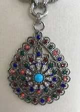 RJ Graziano Statement Runway Turquoise Multi Colored Stones Rhinestone Necklace