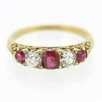 Victorian Ruby and Diamond Five Stone Ring 18ct Yellow Gold Size N 1/2