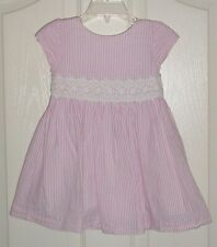 Euc Ralph Lauren Girls Pink & White Striped Seersucker Lace Trim Dress 18 Months