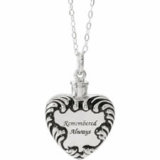 Holder Necklace Memorial Griving Heart 925 Sterling Silver Remembered Always Ash