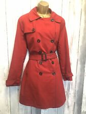 Boden Red Mac Trench Coat Size 16 Belted Detachable Quilted Lining
